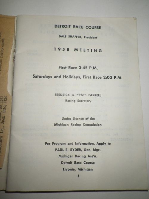 1958 Detroit Race Course Condition Book 2