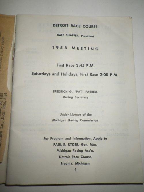 1958 Detroit Race Course Condition Book 2