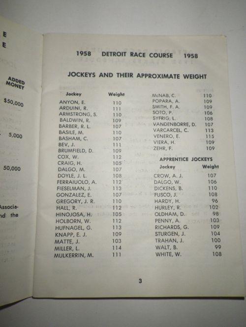 1958 Detroit Race Course Condition Book 3