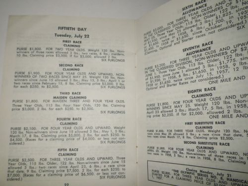 1958 Detroit Race Course Condition Book 5