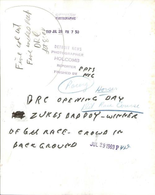 Detroit Race Course July 29, 1969._back Det. News