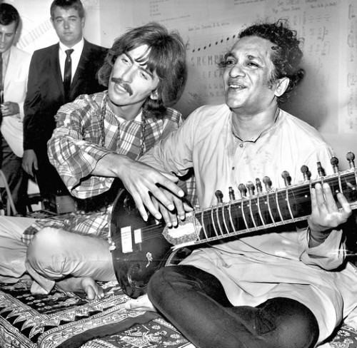 George Harrison, right, and Ravi Shankar