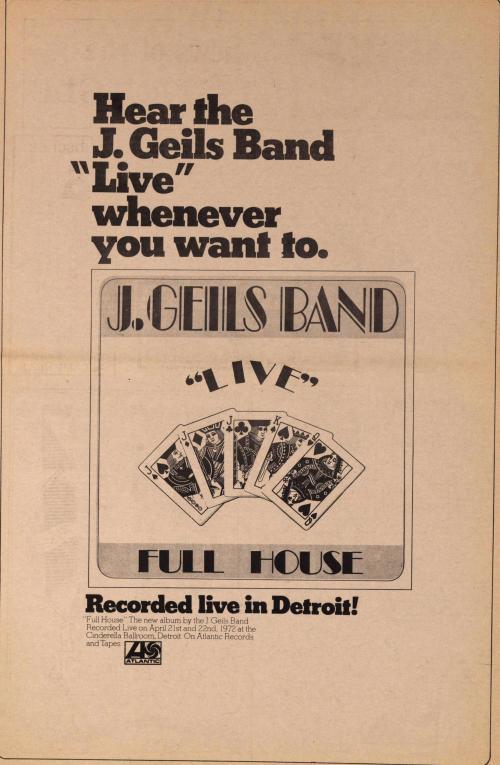 Live in Detroit _J. Geils Band 72'