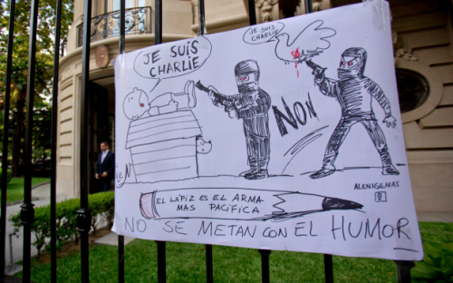 """Argentina-in Spanish """"The pencil is the most peaceful weapon, don't mess with humor"""""""