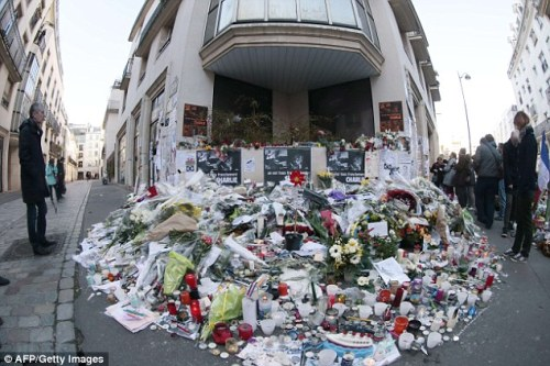 Memorial at the doors of Charlie Hebdo