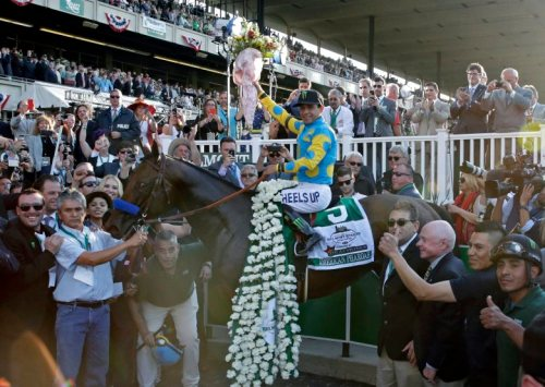 epa04787232 Jockey Victor Espinoza on top of American Pharoah, raises the roses in the winner's circle after winning the 147th Running of the Belmont Stakes at Belmont Park Racetrack in Elmont, New York, USA, 06 June 2015. American Pharoah becomes the first horse to win the Triple Crown in 37 years, the last horse to do it was Affirmed in 1978.  EPA/PETER FOLEY
