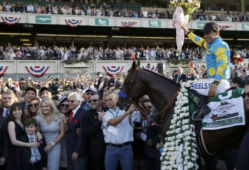 American Pharoah Belmont Winners Circle 2015