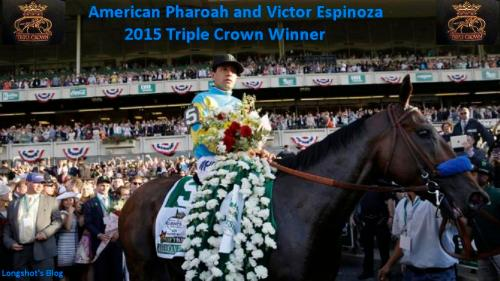 Jockey Victor Espinoza parades American Pharoah through the Winner's Circle after winning the 147th running of the Belmont Stakes horse race at Belmont Park, Saturday, June 6, 2015, in Elmont, N.Y. American Pharoah is the first horse to win the Triple Crown since Affirmed won it in 1978.(AP Photo/Seth Wenig)