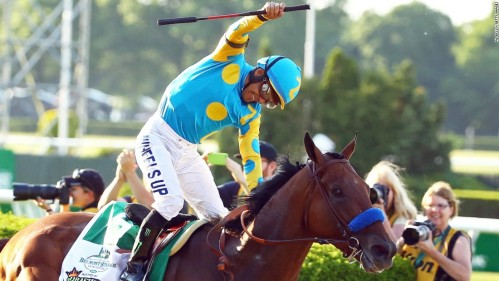 Victor Espinoza Celebrates Triple Crown Win 2015