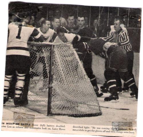 Gordie Howe- Lou Fontinato fight NY Ranger